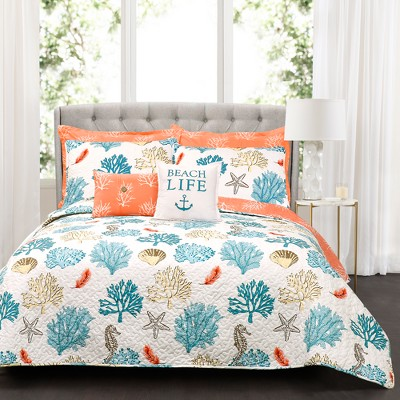 Full/Queen 7pc Coastal Reef Feather Quilt Set Blue/Coral - Lush Décor