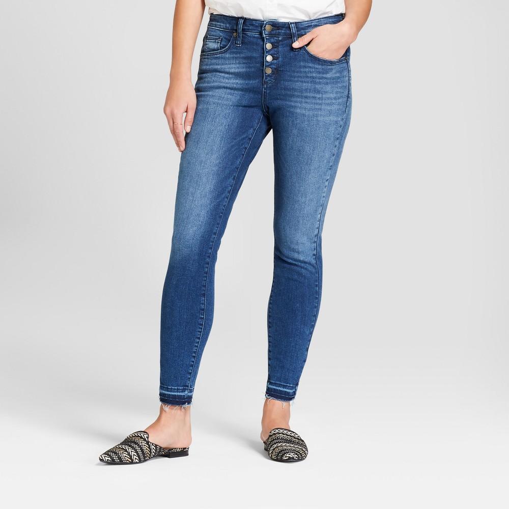 Women's High-Rise Released Hem Skinny Jeans - Universal Thread Medium Wash 00 Long, Blue