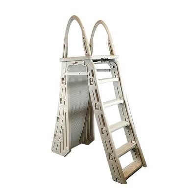 Confer 7200 Adjustable 48-56 Inch Above Ground Swimming Pool Ladder, Beige