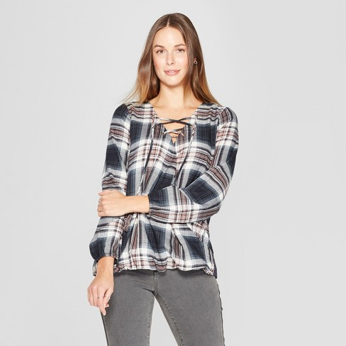 Women s Plaid Long Sleeve Lace-Up Neck Top - Knox Rose™ Blue XS   Target dff7977fe