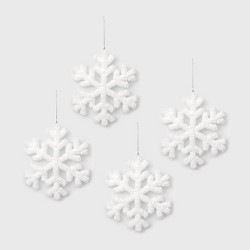 4ct Fluffy Snowflake Christmas Ornament Set White - Wondershop™