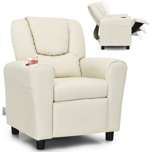 Costway Kids Recliner Chair Pu Leather, Child Recliner Chair With Cup Holder
