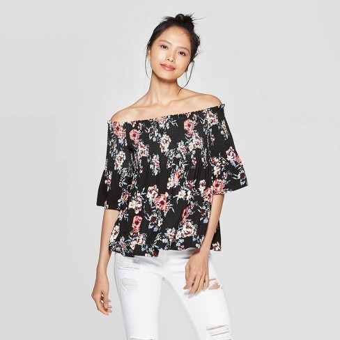 Women's Floral Print 3/4 Sleeve Off the Shoulder Knit Top - Xhilaration™ Black - image 1 of 2