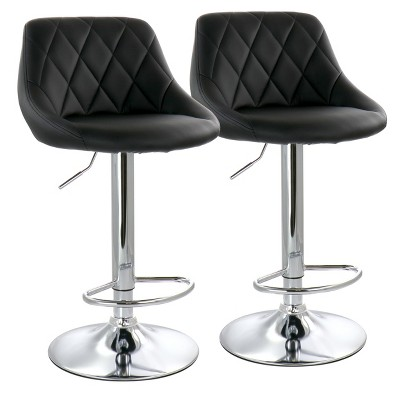 Elama 2 Piece Diamond Stitched Faux Leather Bar Stool with Chrome Base  and Adjustable Height