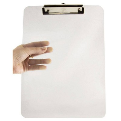 """JAM Paper 9"""" x 12 1/2"""" Plastic Clipboards with Low Profile Metal Clip - Letter Size"""