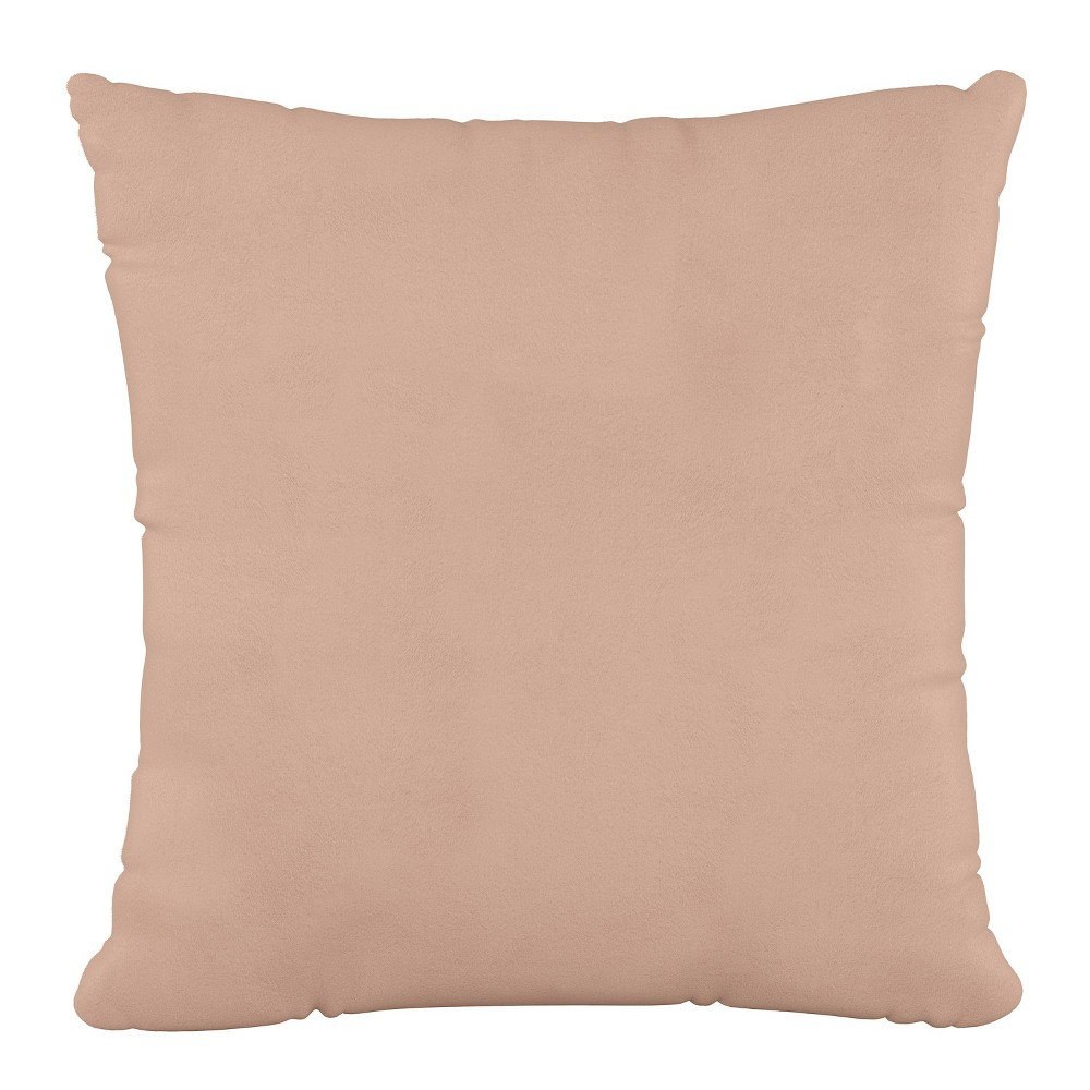 """Image of """"18""""""""x18"""""""" Polyester Fill Pillow with Welt in Velvet Soft Pink - Cloth & Company"""""""