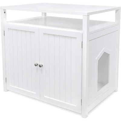 Arf Pets Cat Litter Box Enclosure, Furniture Large Box House with Table - White