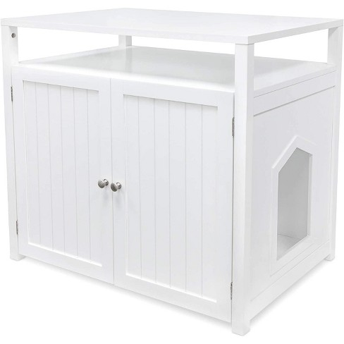 Arf Pets Cat Litter Box Enclosure, Furniture Large Box House with Table - White - image 1 of 4