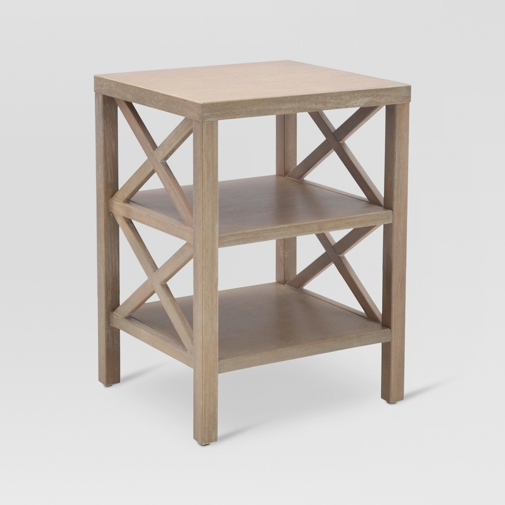 Owings End Table with 2 Shelves Rustic - Threshold