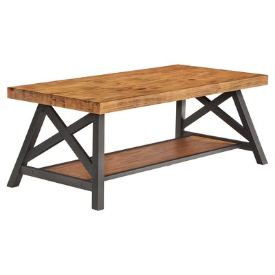 Lanshire Rustic Industrial Metal & Wood Cocktail Table - Inspire Q