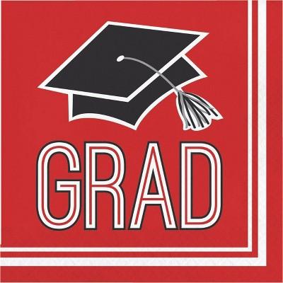 108ct Graduation School Spirit Disposable Napkins Red