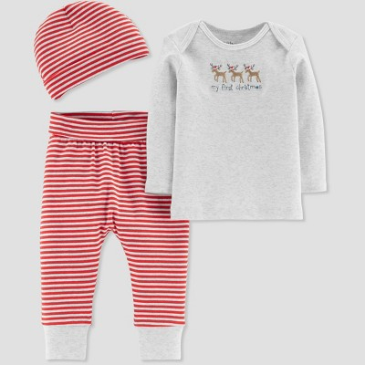 Baby 3pc Knit Christmas Set - Just One You® made by Carter's Gray Newborn