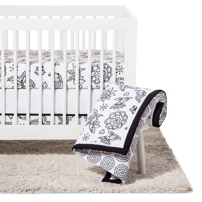 NoJo Crib Bedding Set 8pc - Floral - Black/White