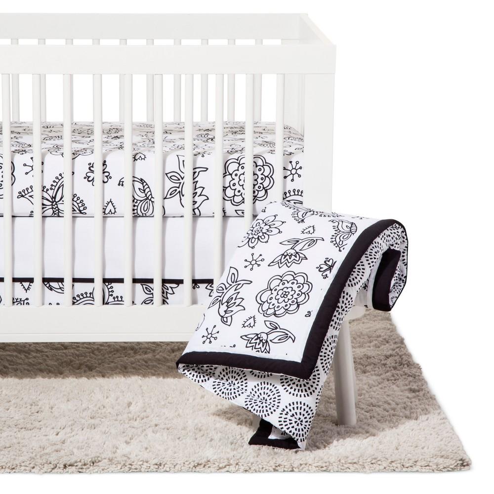 Image of NoJo Crib Bedding Set 8pc - Floral - Black/White
