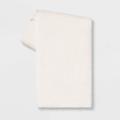 Heathered Knit Throw White - Threshold™