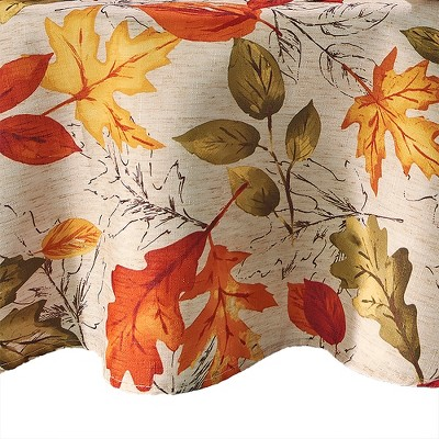 Autumn Leaves Fall Printed Tablecloth - Orange/Yellow - Elrene Home Fashions