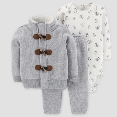 Baby Boys' 3pc Cardigan Set - Just One You™ Made by Carter's Light Gray NB