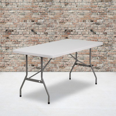 Flash Furniture 5-Foot Granite White Plastic Folding Table