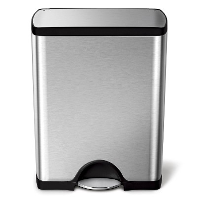 simplehuman 50L Rectangular Step Trash Can Brushed Stainless Steel