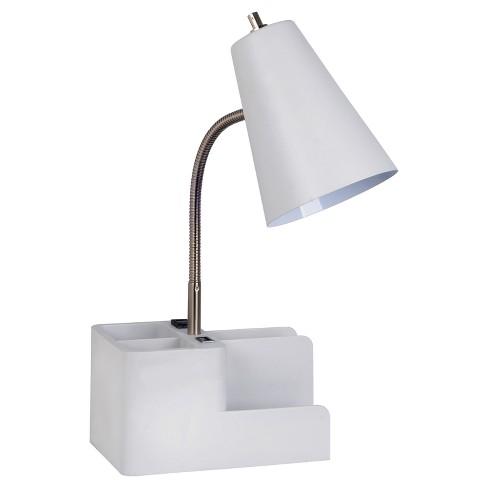 Organizer Task Lamp White Includes Energy Efficient Light Bulb Room Essentials