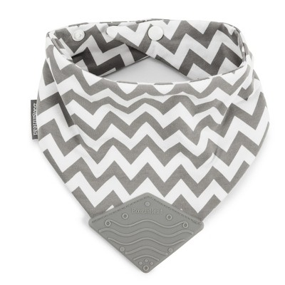 Bandana Teether Bib - Gray/White Chevron