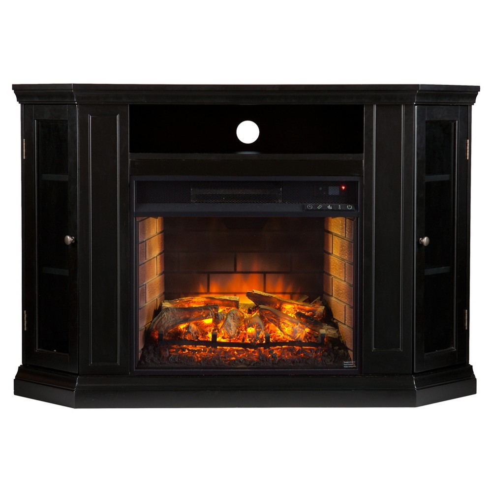 Claremore Convertible Media Infrared Fireplace - Black - Aiden Lane