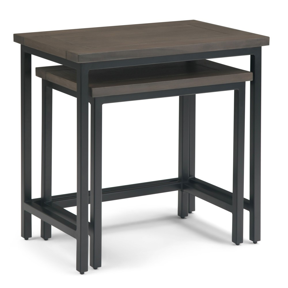 "Image of ""2pc 25"""" Rhonda Solid Mango Wood Nesting Side Table Walnut Brown - Wyndenhall"""