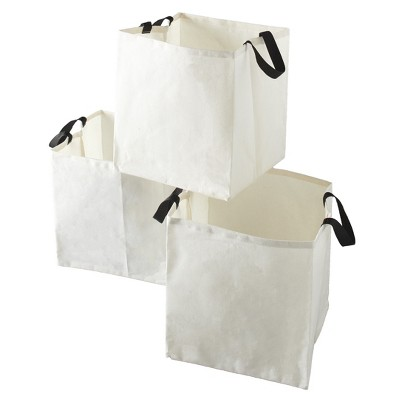 Lakeside Canvas Storage Laundry Bags with Fabric Handles - Set of 3