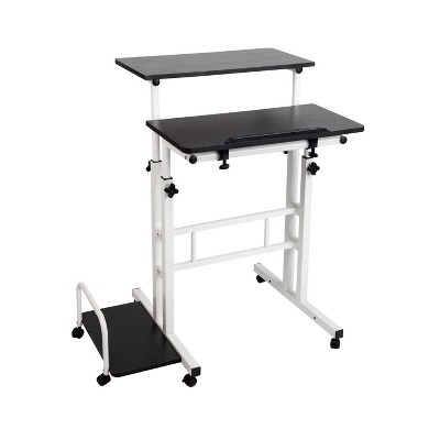 Black and White Rolling Sitting/Standing Reversible Desk with Side Storage - Mind Reader