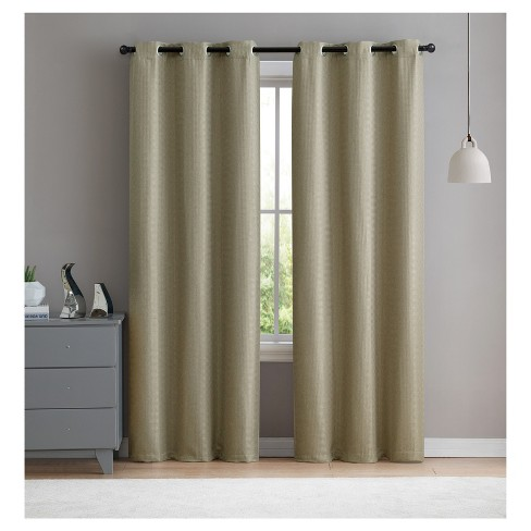 "Set of 2 38""x96"" Salma Check Blackout Curtain Panel Taupe - VCNY Home - image 1 of 2"