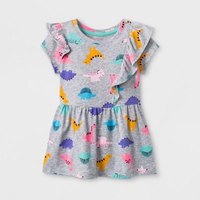 Toddler Girls' Short Sleeve Tunic - Cat & Jack™ Gray 12M