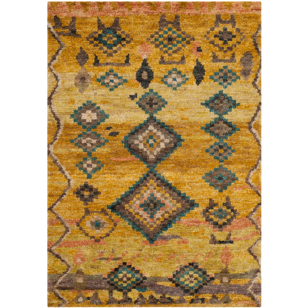 4'X6' Knotted Tribal Design Area Rug Gold - Safavieh
