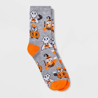 Women's Costume Critters Halloween Crew Socks - Hyde & EEK! Boutique™ Heather Gray 4-10