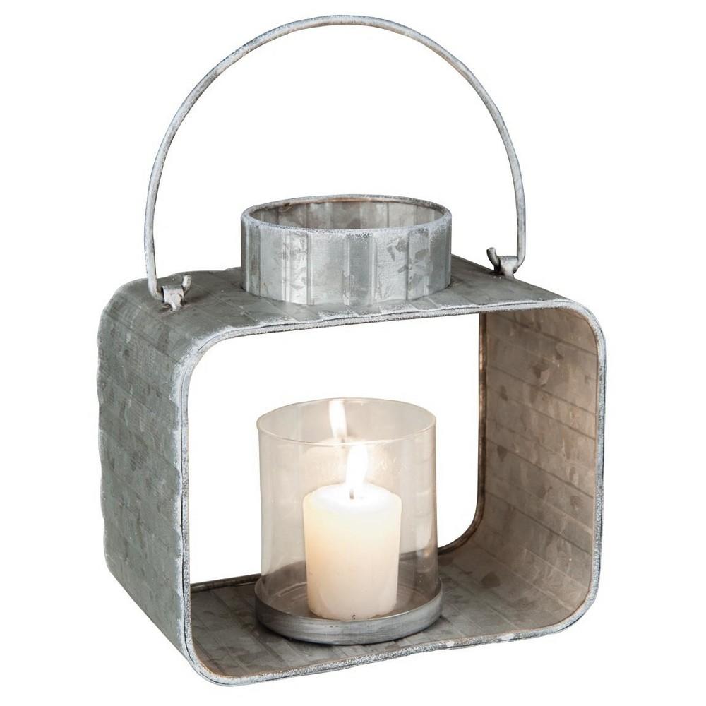 Galvanized 8.5 Outdoor Lantern Candle Holder - Silver -Foreside Home & Garden