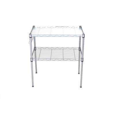 MIND READER 2-Tier Metal Rack Utility Shelf and Microwave Stand with Hooks on the Side (Silver)