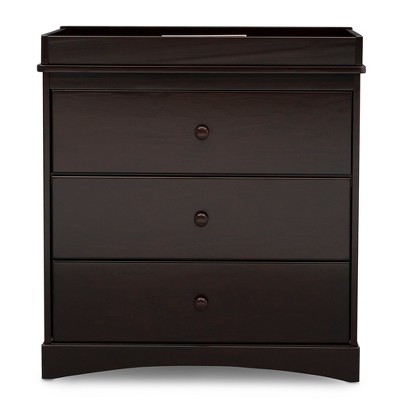 Delta Children Skylar 3-Drawer Dresser with Changing Top - Dark Chocolate