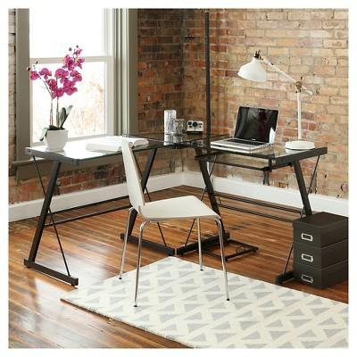'Home Office 51'' L - Shaped Corner Computer Desk - Multi - Saracina Home, Black'