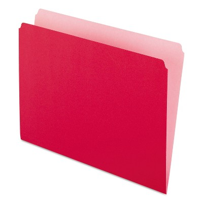 Pendaflex Colored File Folders Straight Cut Top Tab Letter Red/Light Red 100/Box 152RED