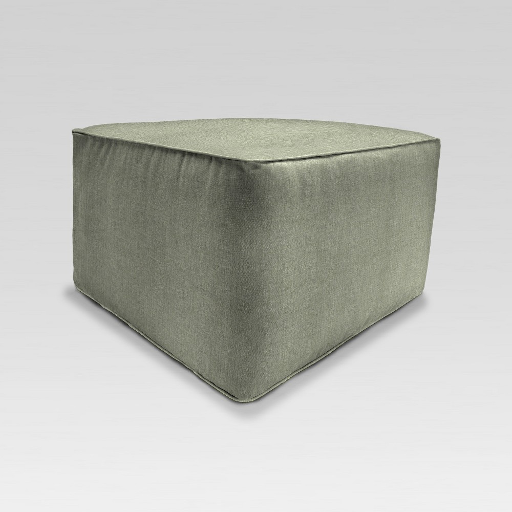 Outdoor Boxed Square Pouf/Ottoman - Green - Jordan Manufacturing
