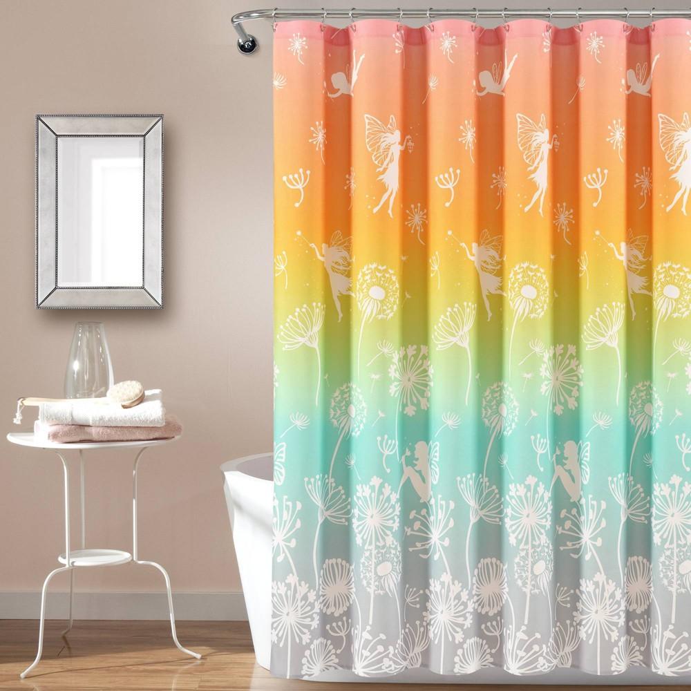 "Image of ""72""""x72"""" Make A Wish Dandelion Fairy Ombre Shower Curtain Single Pastel Rainbow - Lush Décor"""