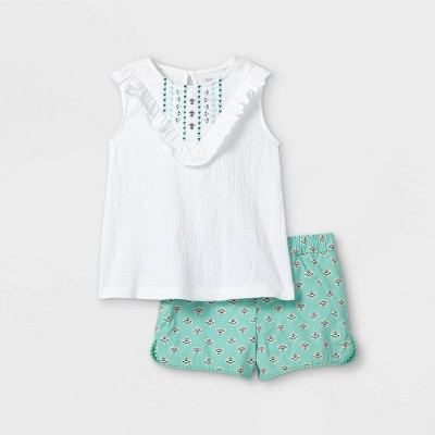 Toddler Girls' 2pc Embroidered Tank Top and Shorts Set - Just One You® made by carter's Teal