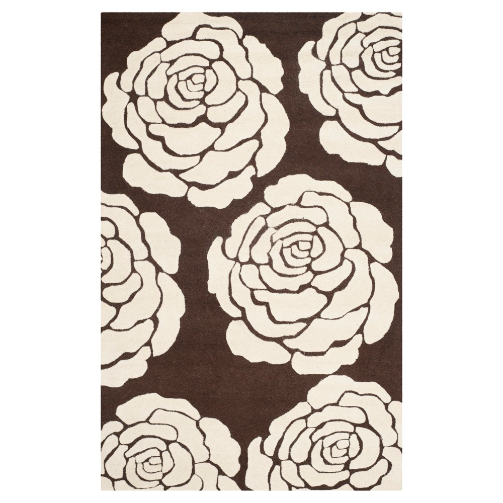 8'X10' Floral Area Rug Brown/Ivory - Safavieh