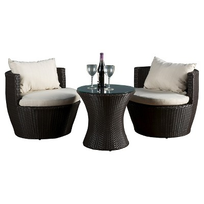 Kono 3pc Wicker Patio Chat Set - Brown - Christopher Knight Home