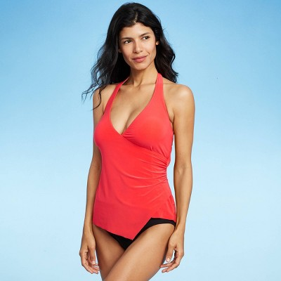 Women's V-Neck Wrap Tankini Top - Aqua Green® Coral