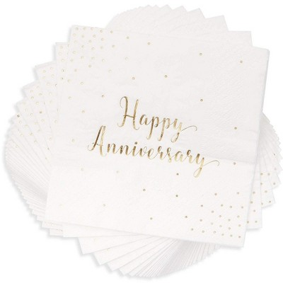 Blue Panda 50-Pack Cocktail Disposable Napkins - Happy Anniversary Printed in Gold Foil Confetti