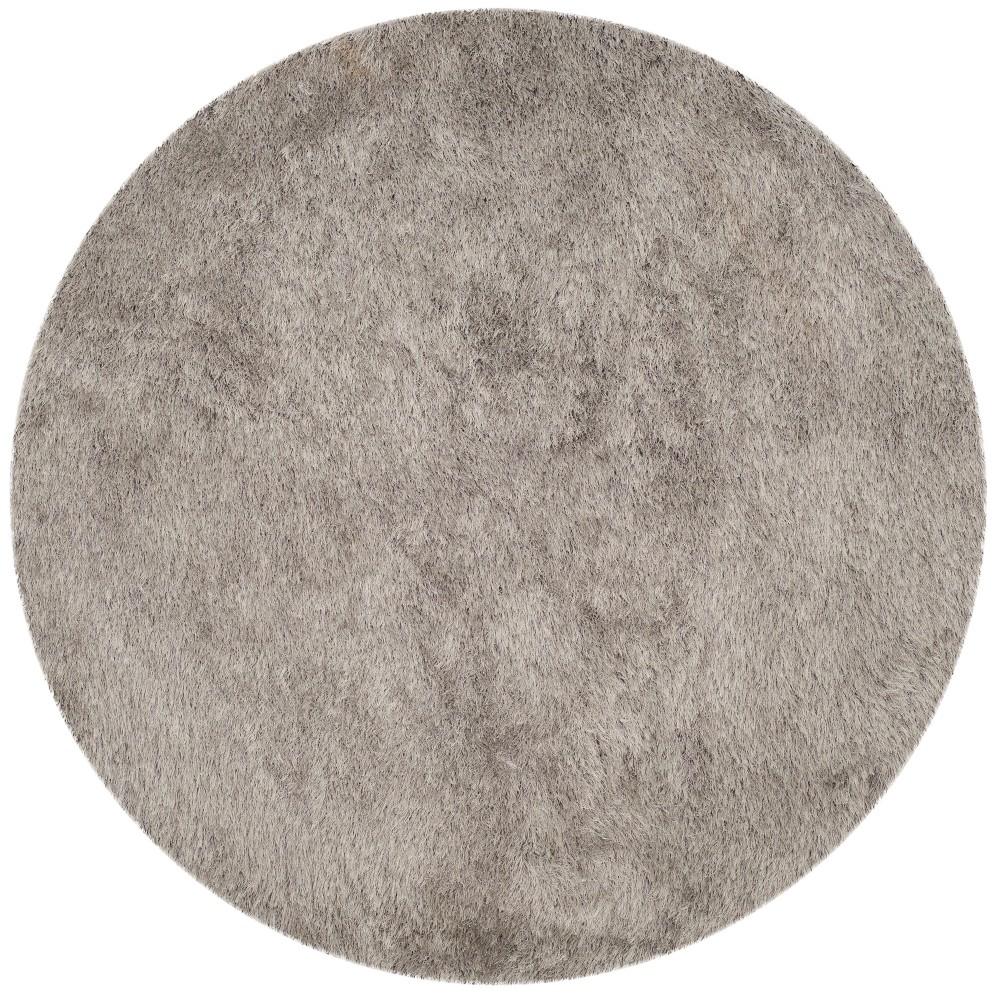6' Solid Tufted Round Area Rug Light Gray - Safavieh