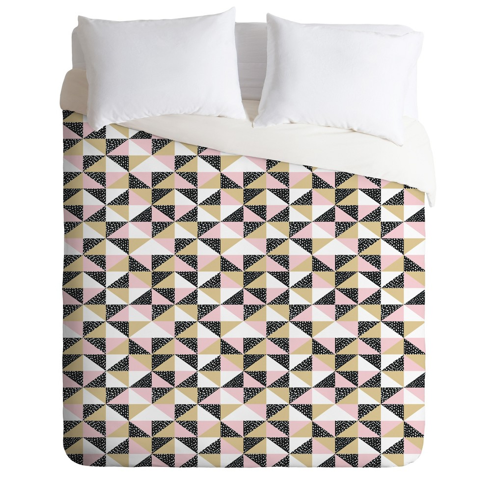 Full/Queen Dash and Ash Triangle Outta Space Duvet Set Pink/Black - Deny Designs, Pink Black