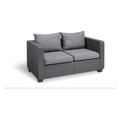 Salta Outdoor Resin Patio Loveseat with Cushions Graphite - Keter