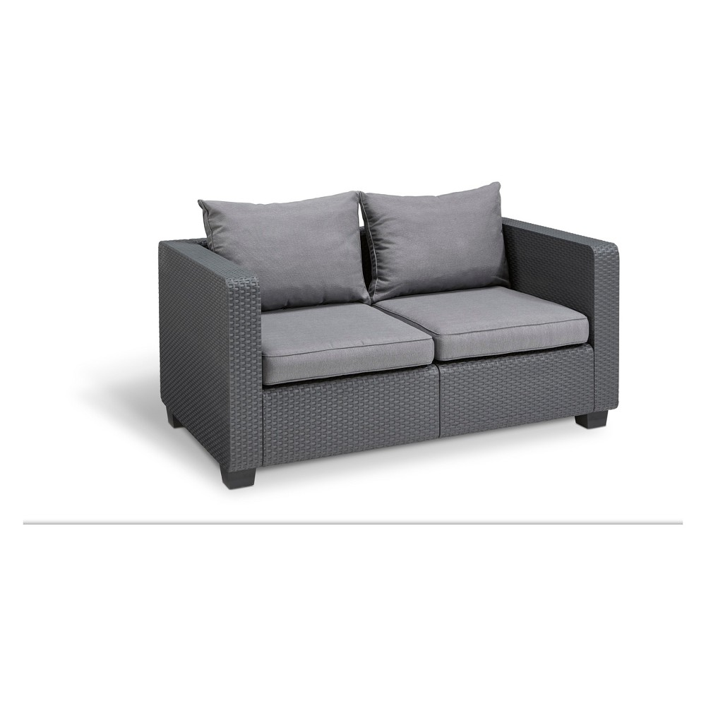 Image of Salta Outdoor Resin Patio Loveseat with Cushions Graphite - Keter, Grey