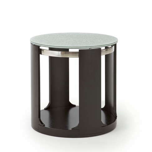 Terrific Croften Cracked Glass Round End Table Merlot Steve Silver Home Interior And Landscaping Eliaenasavecom